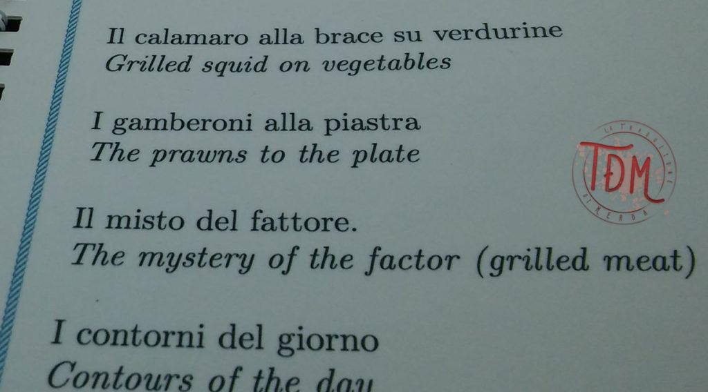 """Un menù con scritto """"Mystery of the factor"""" per """"misto del fattore"""""""