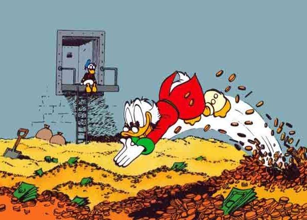Zio Paperone che nuota nelle sue monete